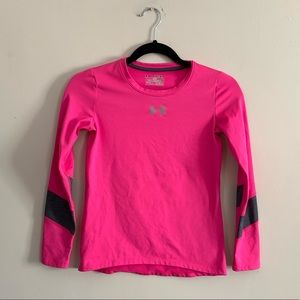 Under Armour Youth Medium Pink Fitted Top